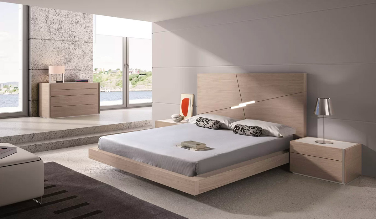 Minimalist Platform Bed With Lighted Headboard Light Wood Finish Oak Low Bed Frame