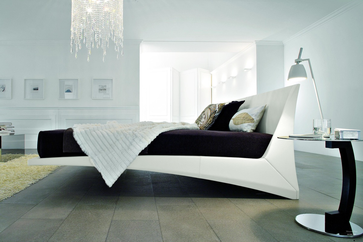 Unique White Platform Bed Floating Futuristic Contemporary Bed Frame Full