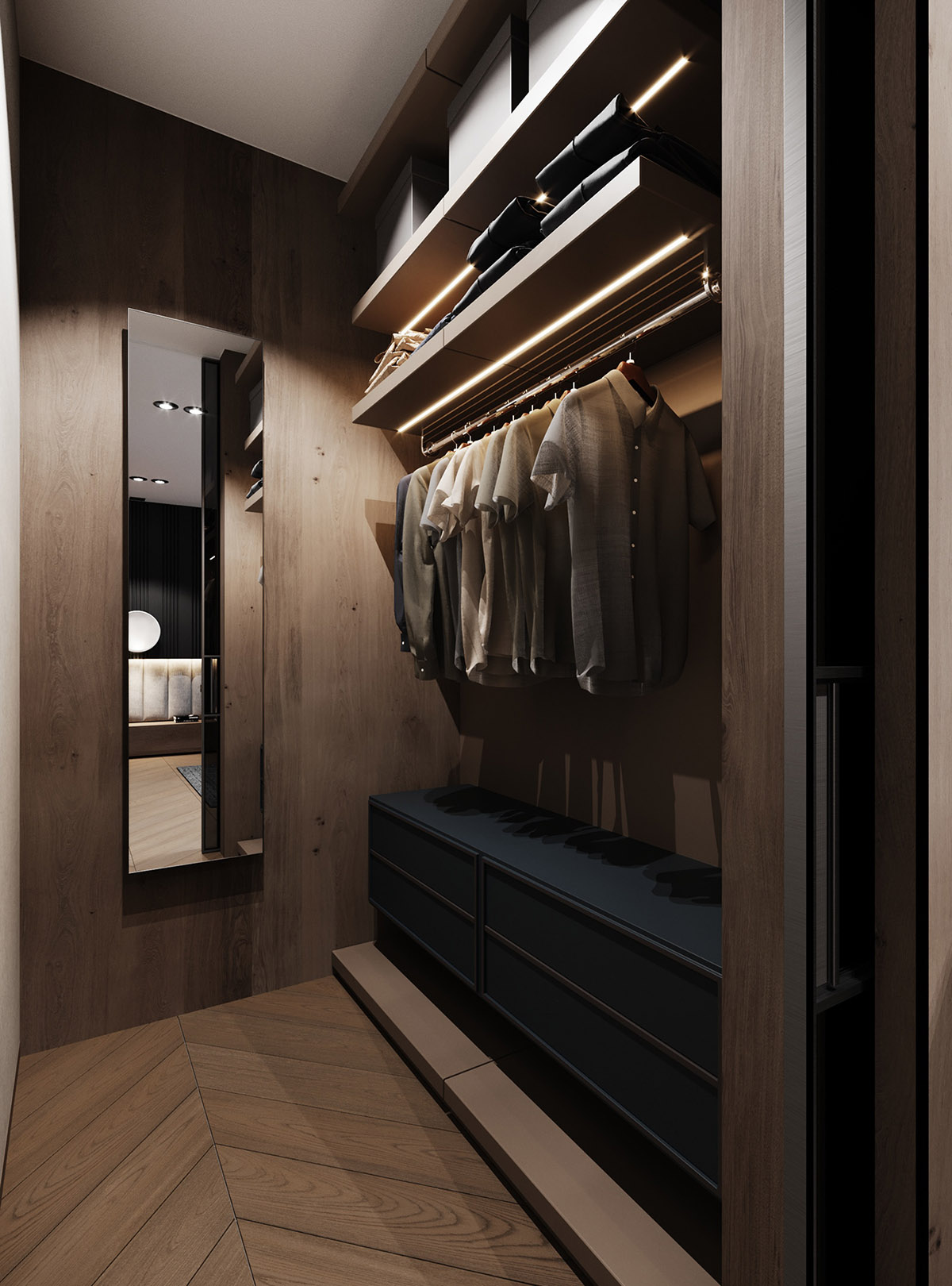 Dramatic Interior With Luxury Closets Bathrooms