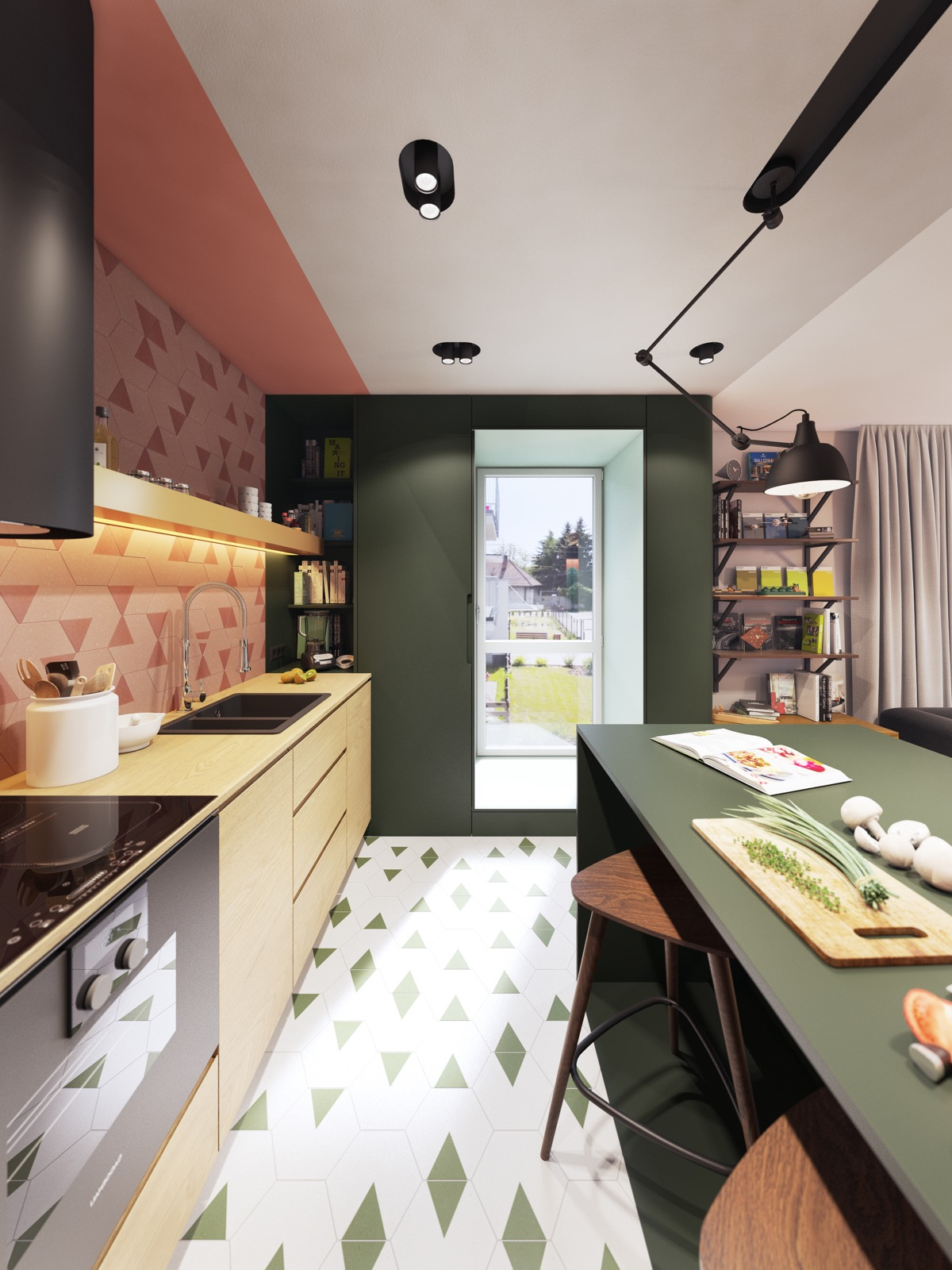 Pink And Green Kitchen With Triangle Tiles Interior Design Ideas