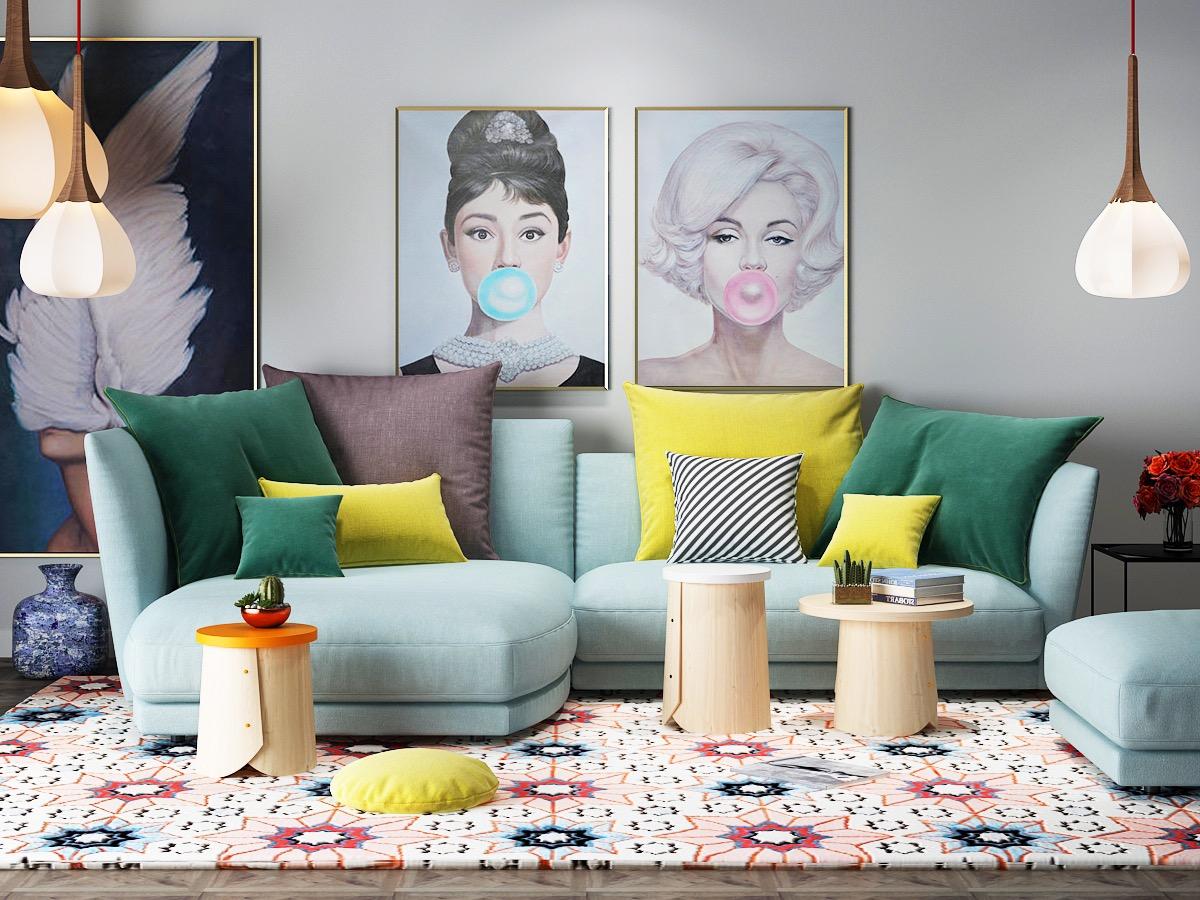 Small Beautiful Living Room With Powder Blue Sofa And Pop Art Eclectic Retro Decor Interior Design Ideas