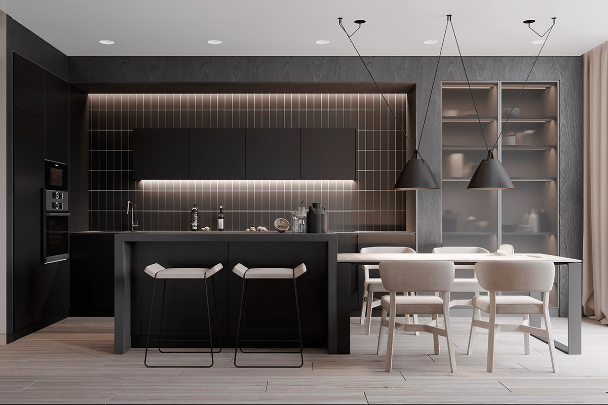 Black Kitchen Bar Table With Matching Cabinet Set