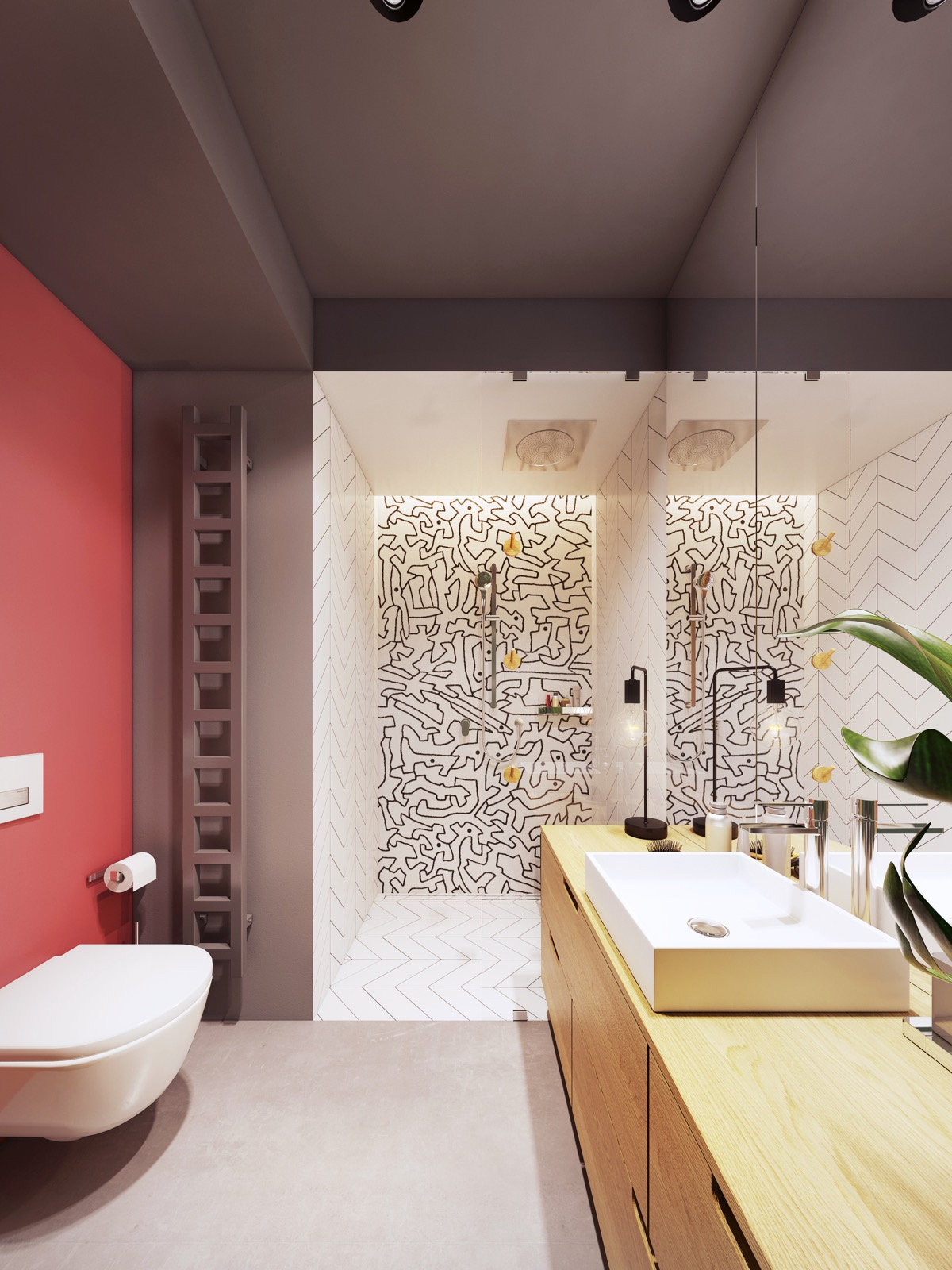 Pink Accent Wall In Bathroom With Black And White Tile Shower Interior Design Ideas