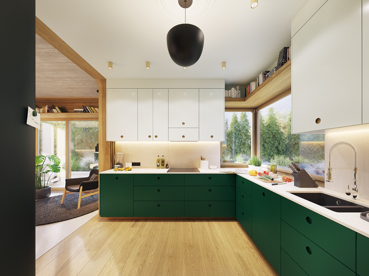Tuxedo Kitchen With Green Lower Cabinets And White Upper Cabinets Interior Design Ideas