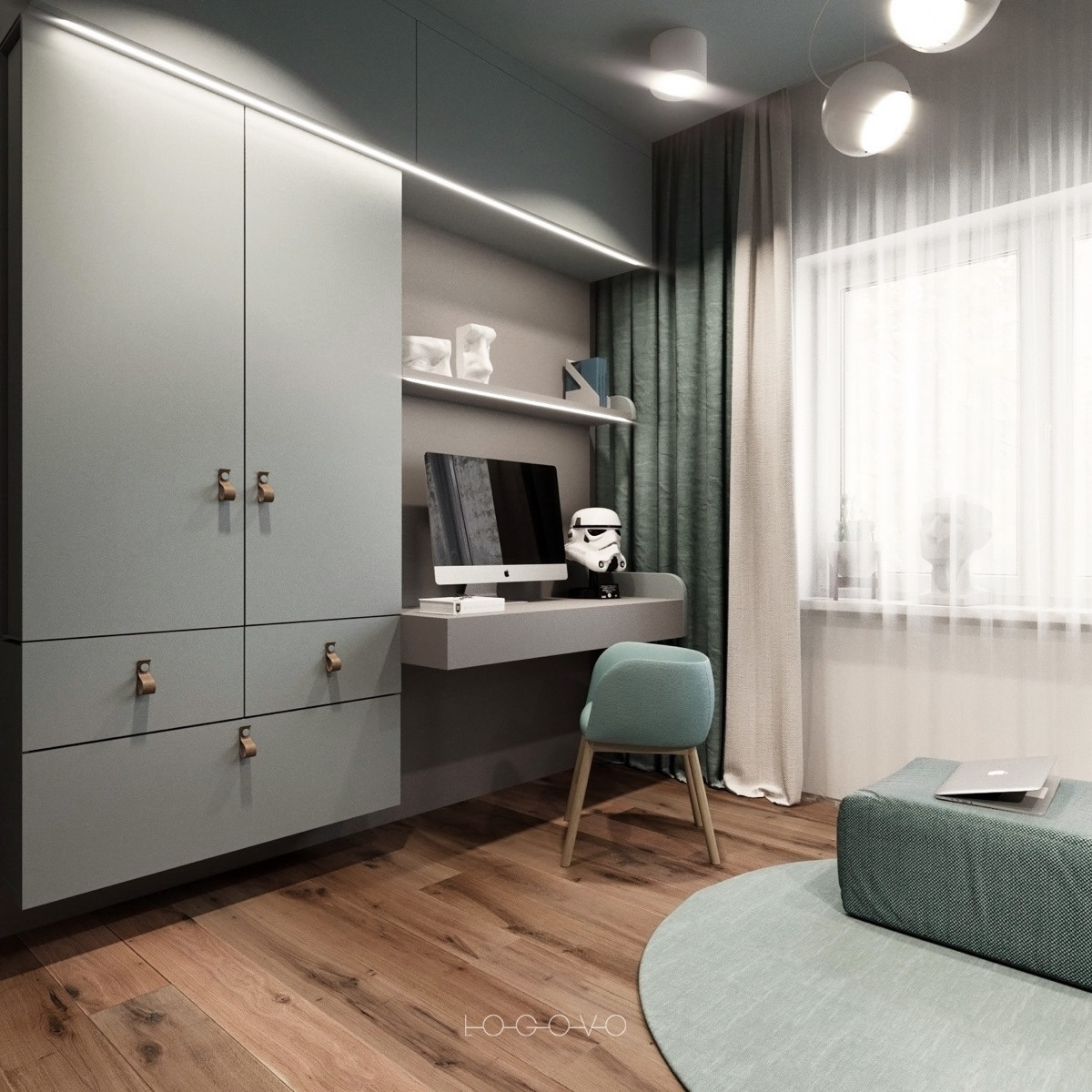 A Small Industrial Apartment With A Home Office Blue Decor