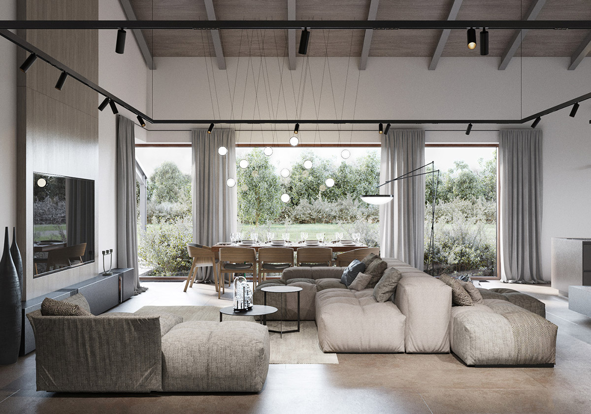 enchanting living room dining combo | Modern Rustic Interiors & Contemporary Country House Charm