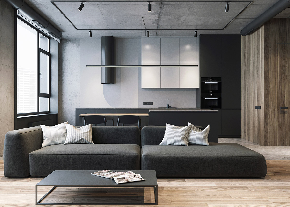 Grey, Raw, Masculine Interiors