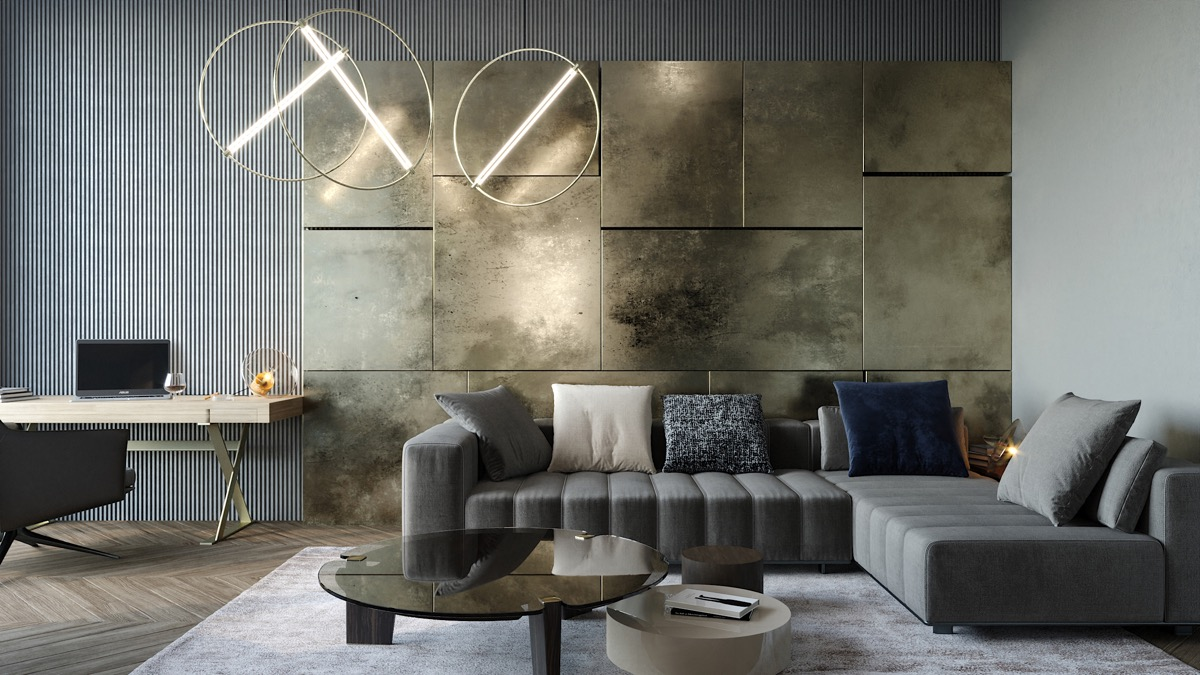luxury living room feature wall