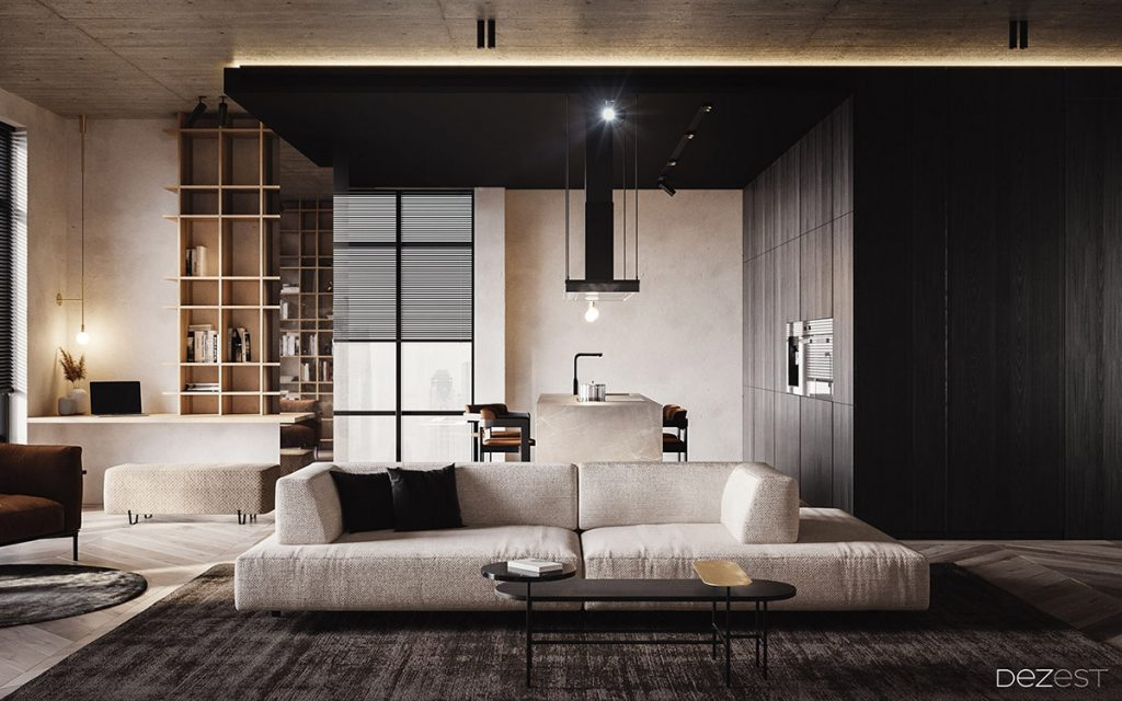 Dark warm welcoming apartment - Modern apartment living room ...