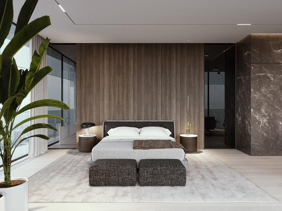 Bois Pour Mur Chambre décoration : intérieur moderne de luxe avec décor unifié en
