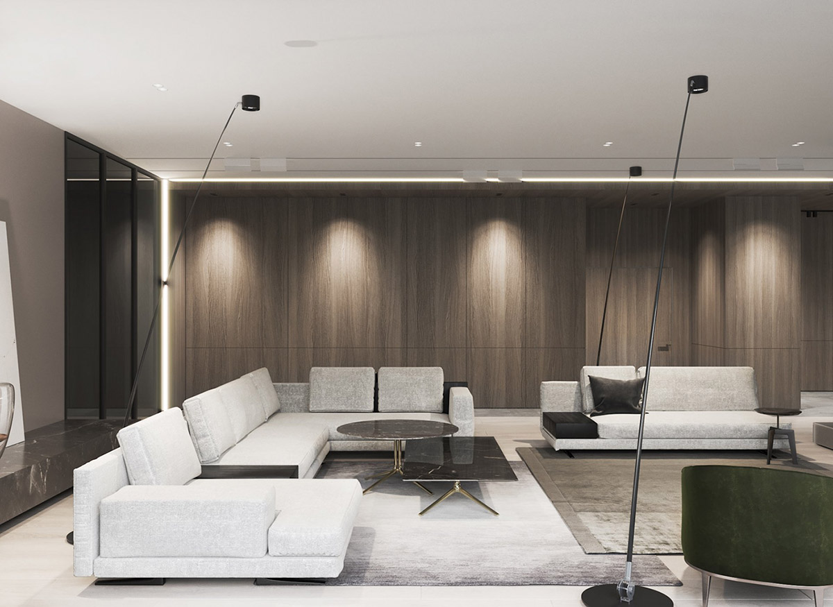 Table Basse Grand Salon décoration : intérieur moderne de luxe avec décor unifié en