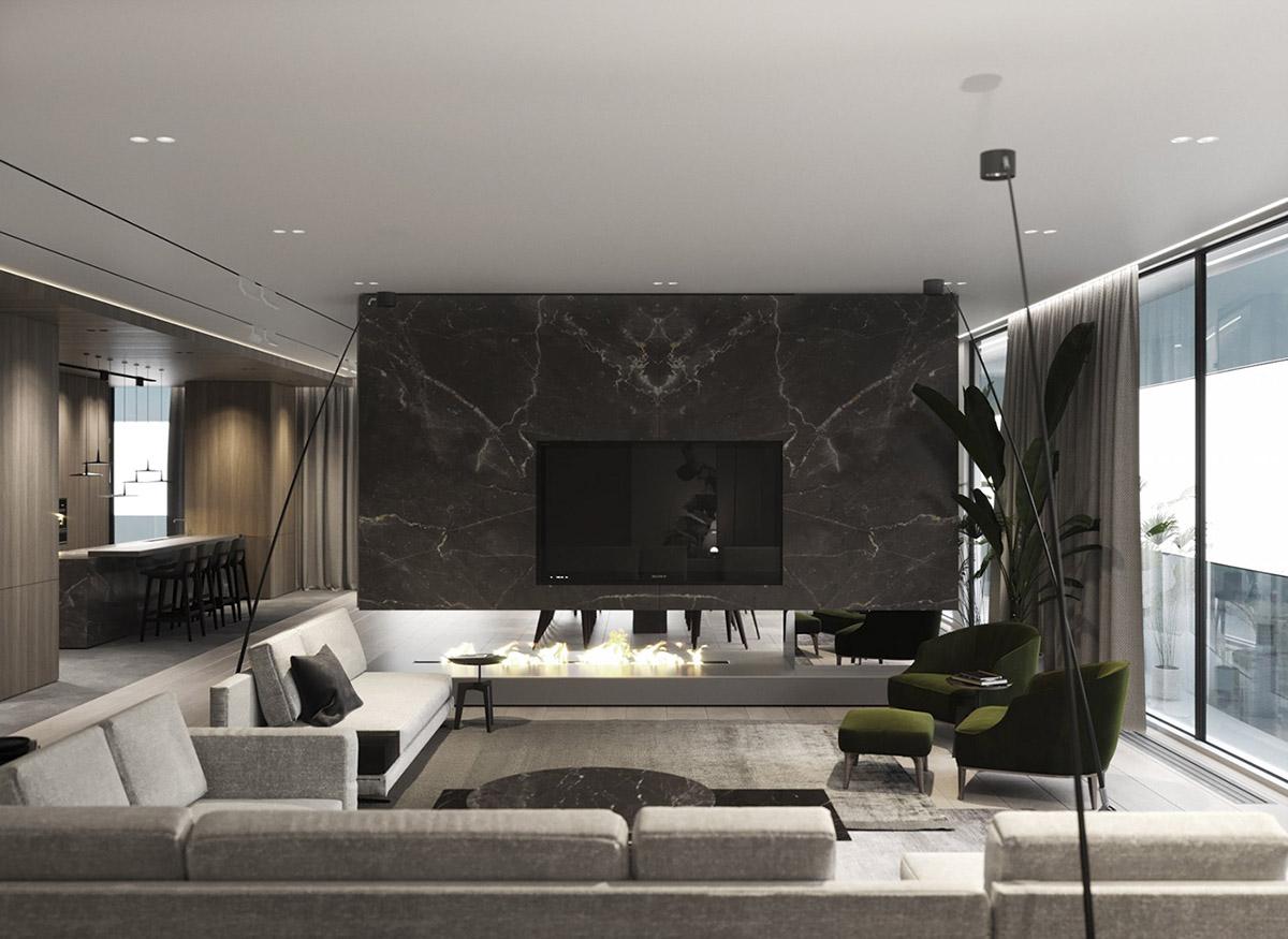 Idée De Cheminée Moderne décoration : intérieur moderne de luxe avec décor unifié en