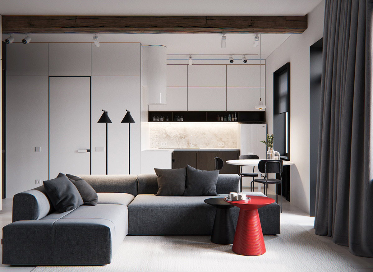 Incorporating Red Accents On Grey Decor