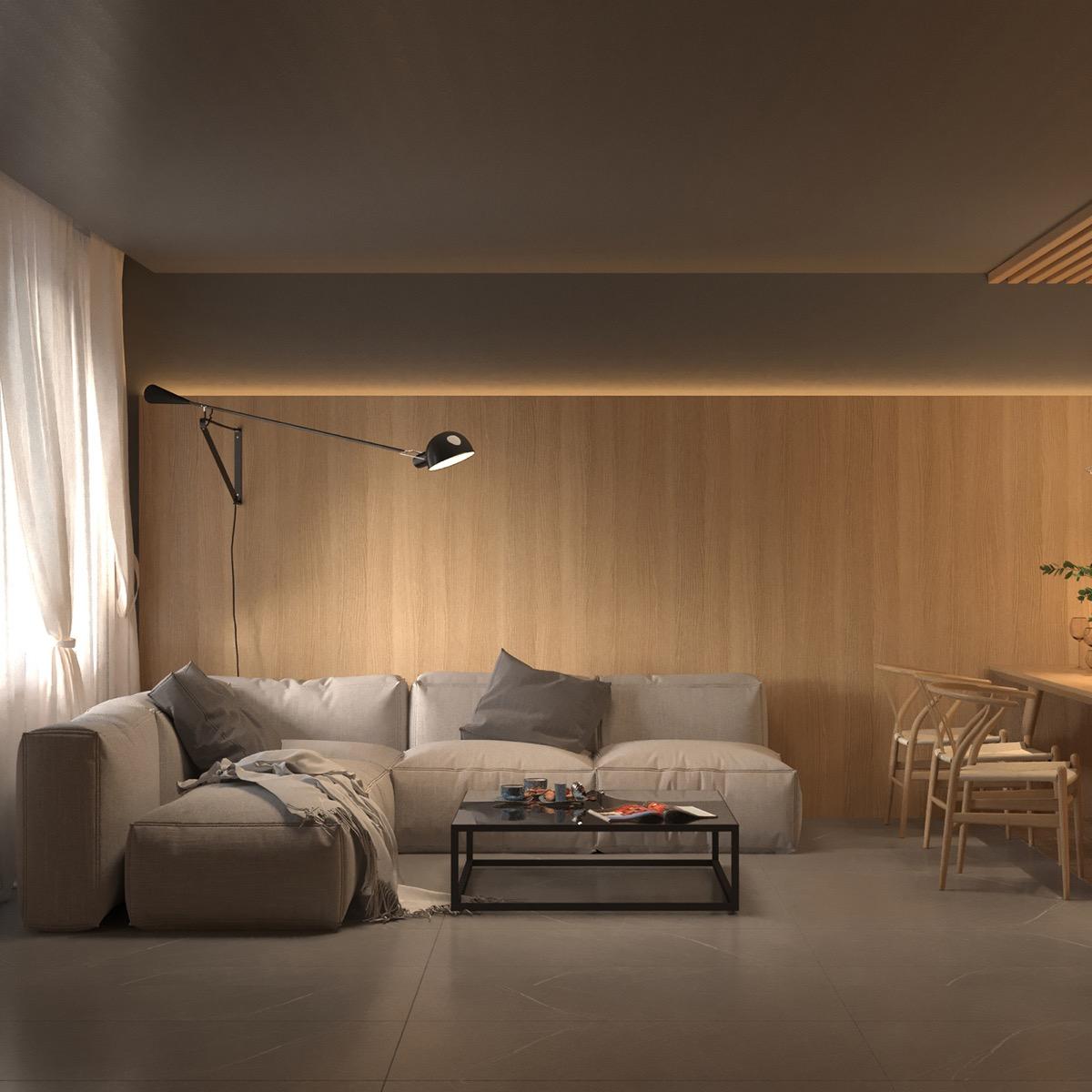 Warm Interior Design With A Soft Lighting Scheme