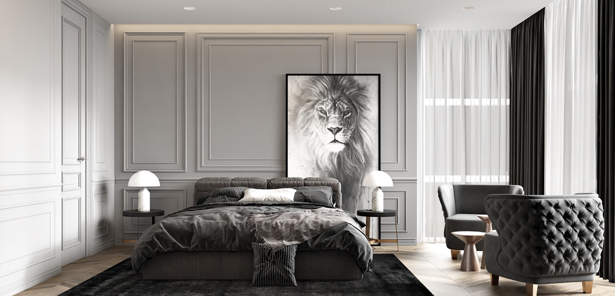 Two Neoclassical Home Interiors In Shades Of Grey
