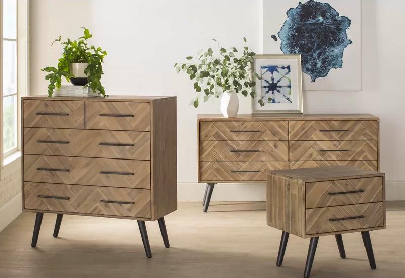 Herringbone Patterned Double Dresser Mid Century Modern Wood Bedroom Set Interior Design Ideas