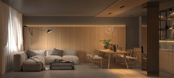 Warm Interior Design With A Soft Lighting Scheme