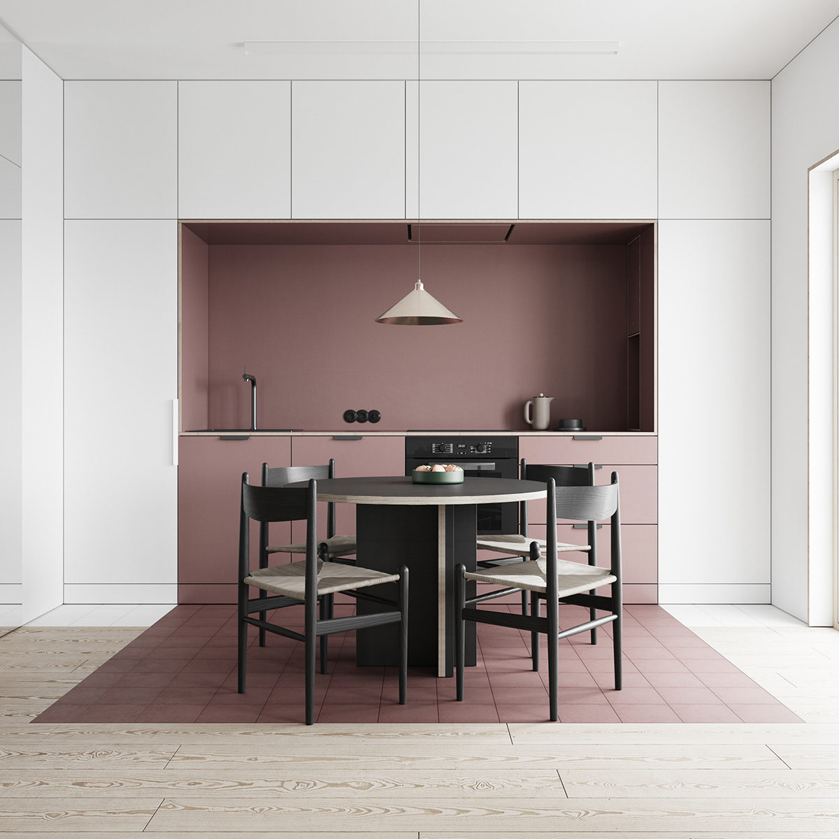 Dusk Colored Kitchen Cabinets: Interiors That Use Colour Blocking To Segment Space