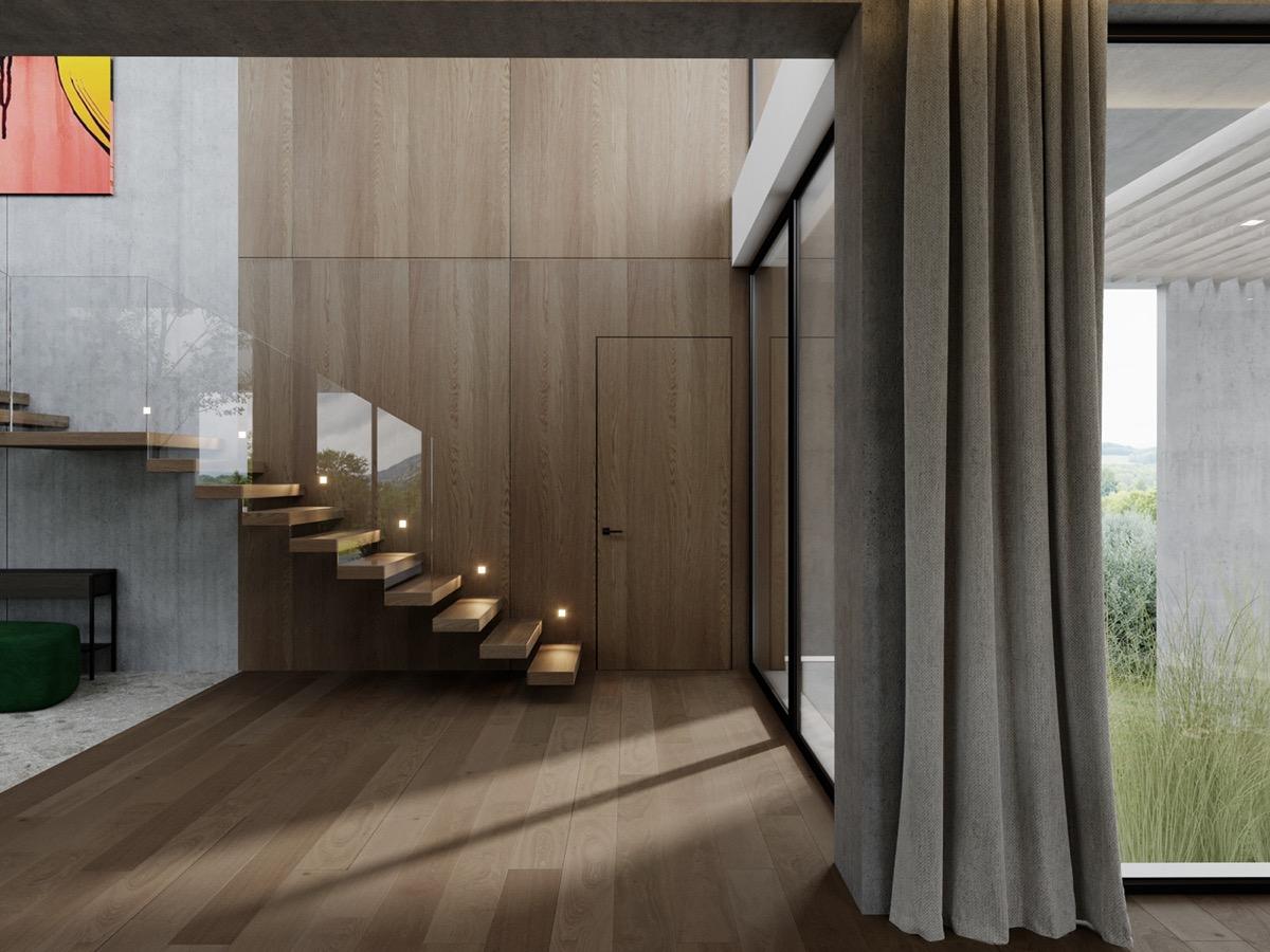 Escalier Marches Suspendues Mur décoration : maison moderne haut de gamme avec cour et