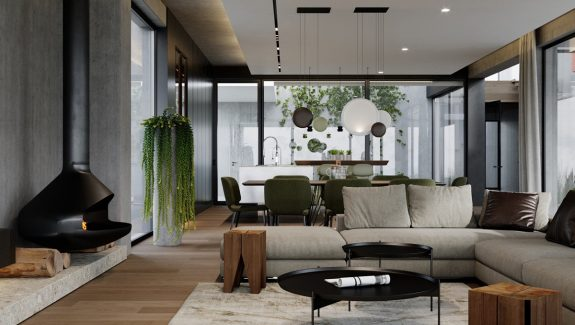 Upscale Modern Endangering With Courtyard And Floating Staircase Design
