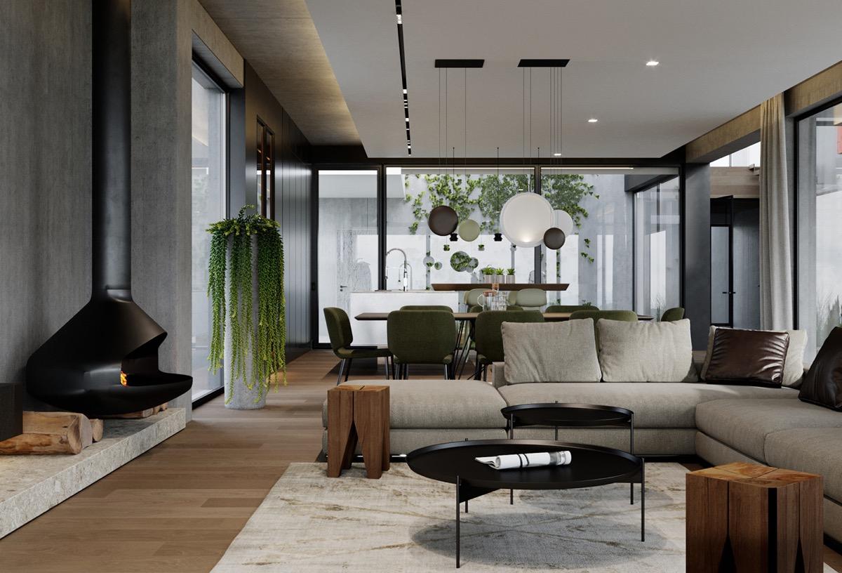 Escalier Interieur Beton Design décoration : maison moderne haut de gamme avec cour et