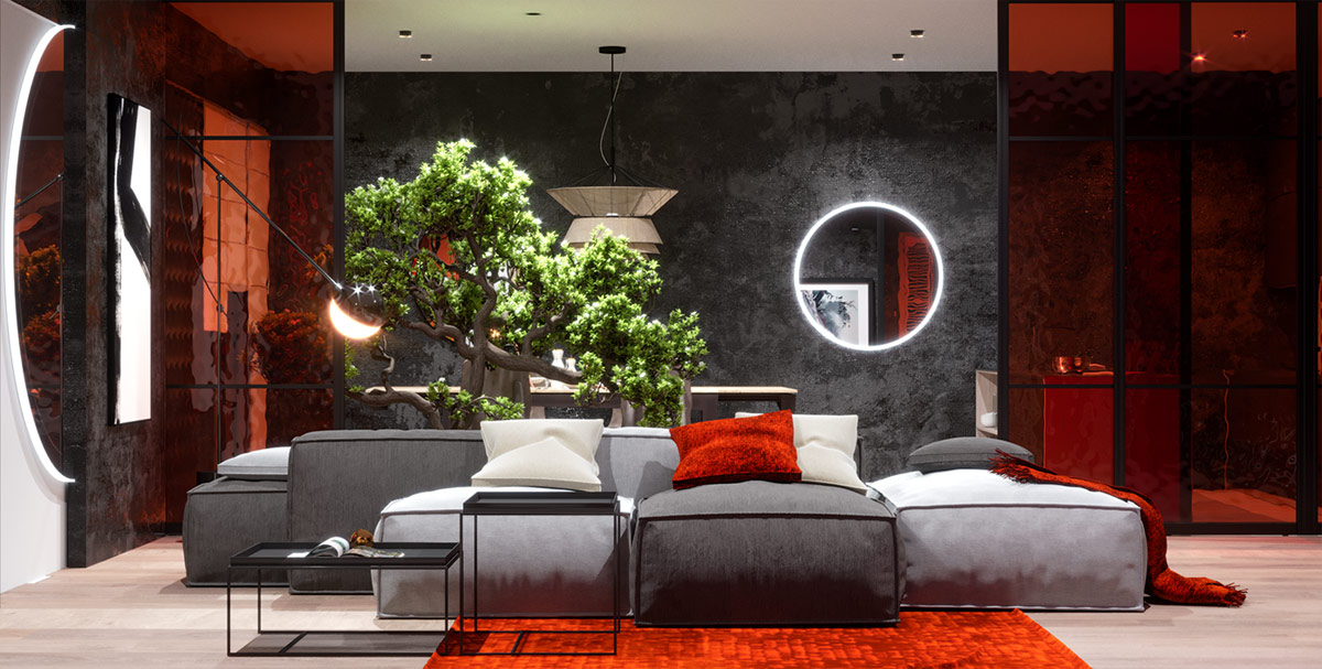 Modern Red And Grey Interiors With Japanese Influences
