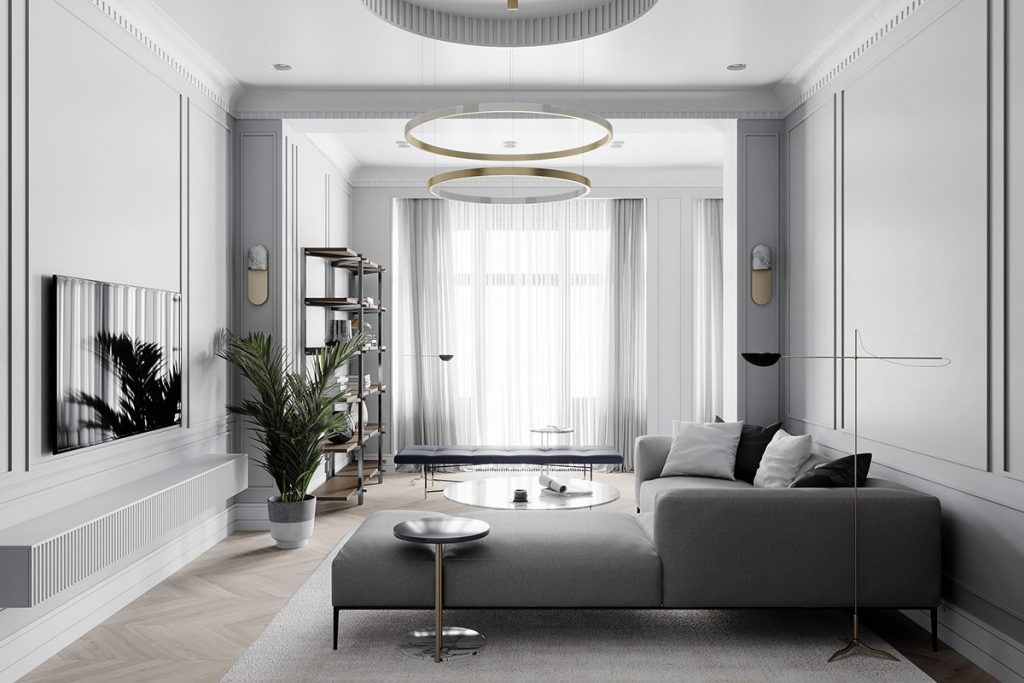 Grey Based Neoclassical Interior Design With Muted