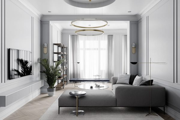 Grey Based Neoclassical Interior Design With Muted & Metallic Accents
