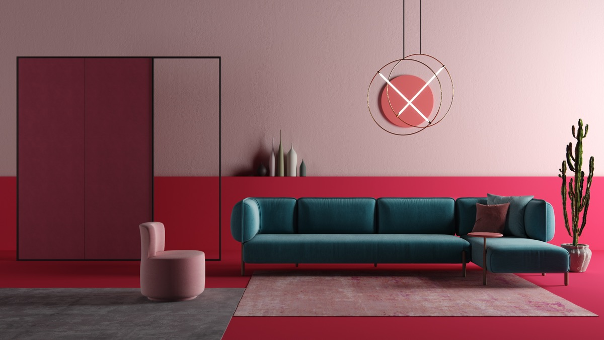 Pink And Teal Living Room Interior, Teal And Red Living Room