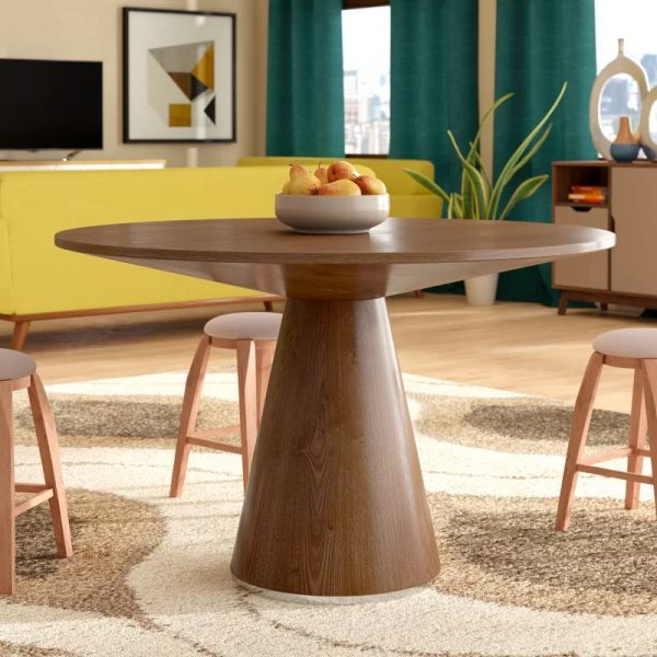 Two Drop Leaves Classic Rounded Design Compact Wooden Extendable Dining Table Honey Home Kitchen Furniture