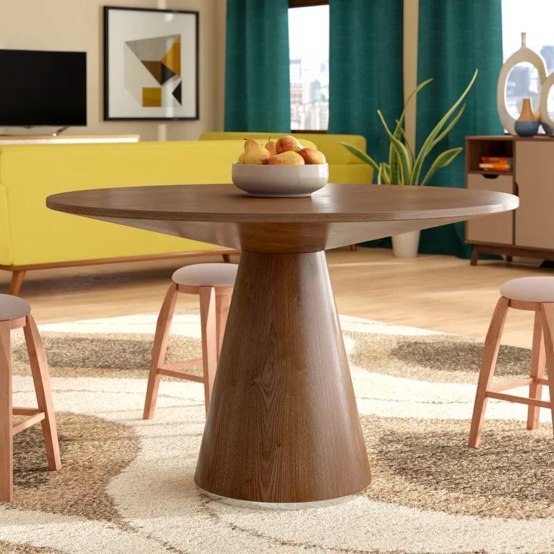 Mid Century Modern Style Wooden Round, Round Mid Century Modern Dining Table