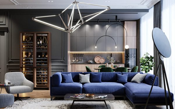 Intense Neoclassical Interior with Cobalt and Emerald Coloured Accents