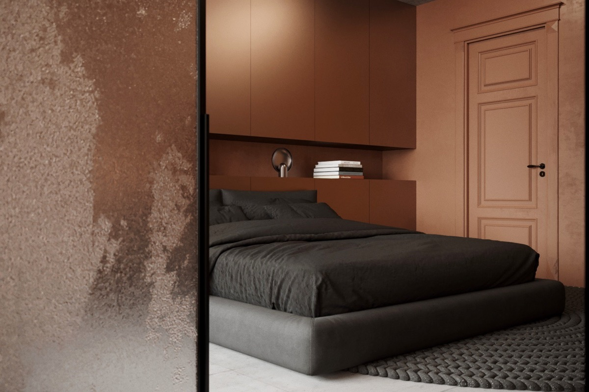 modern copper bedroom
