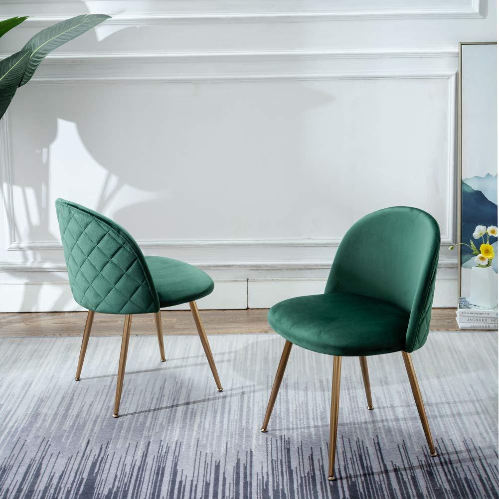Green Kitchen Chairs Velvet Uphulstered Diamond Quilt Gold Legs Mid Century Modern Interior Design Ideas
