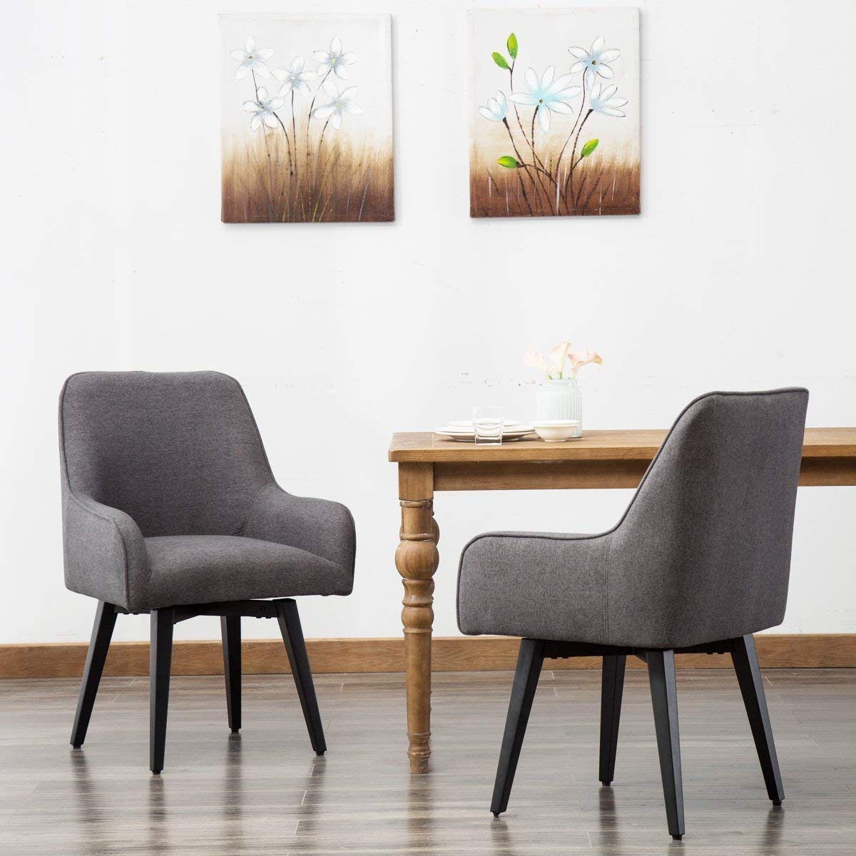 Upholstered Swivel Kitchen Chair With Armrests Comfortable Armchair For Dining Table Interior Design Ideas