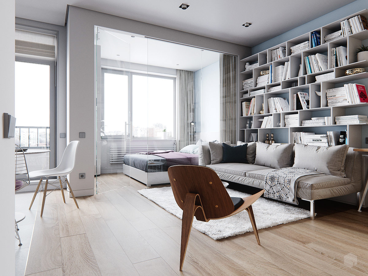 3 Small Space Apartment Interiors Under 50 Square Meters 540 Square Feet With Layout