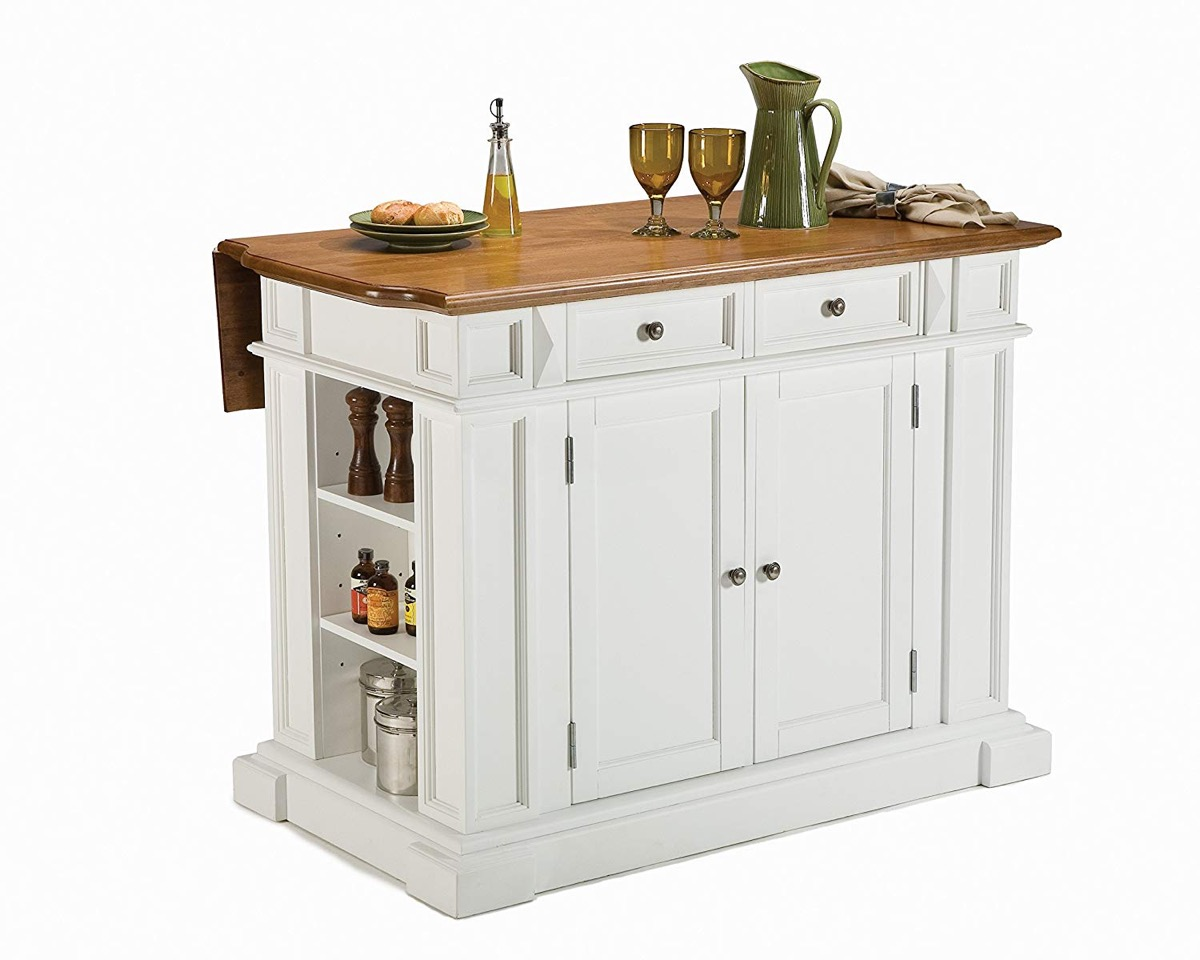 Drop Leaf Kitchen Island Table With Cupboards And Shelves White With Dark Wood Top Interior Design Ideas