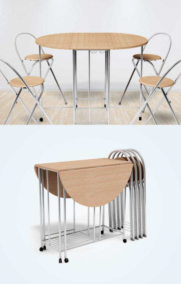 41 Drop Leaf Tables For Small Spaces, Fold Up Round Table