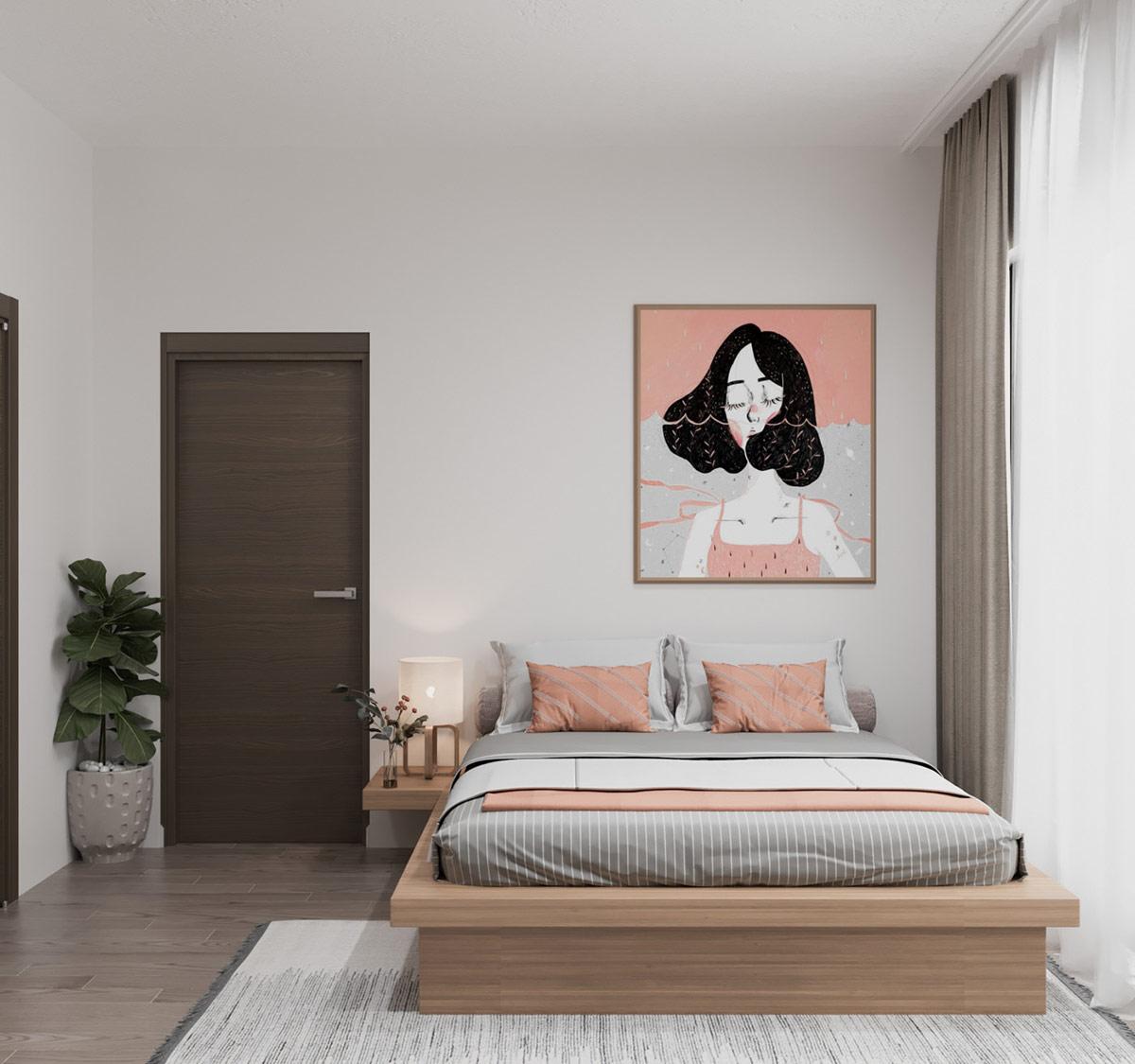 Coral And Grey Bedroom Interior Design Ideas