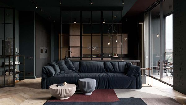 2 Small Apartment Layouts With Deliciously Dark Decor Ideas