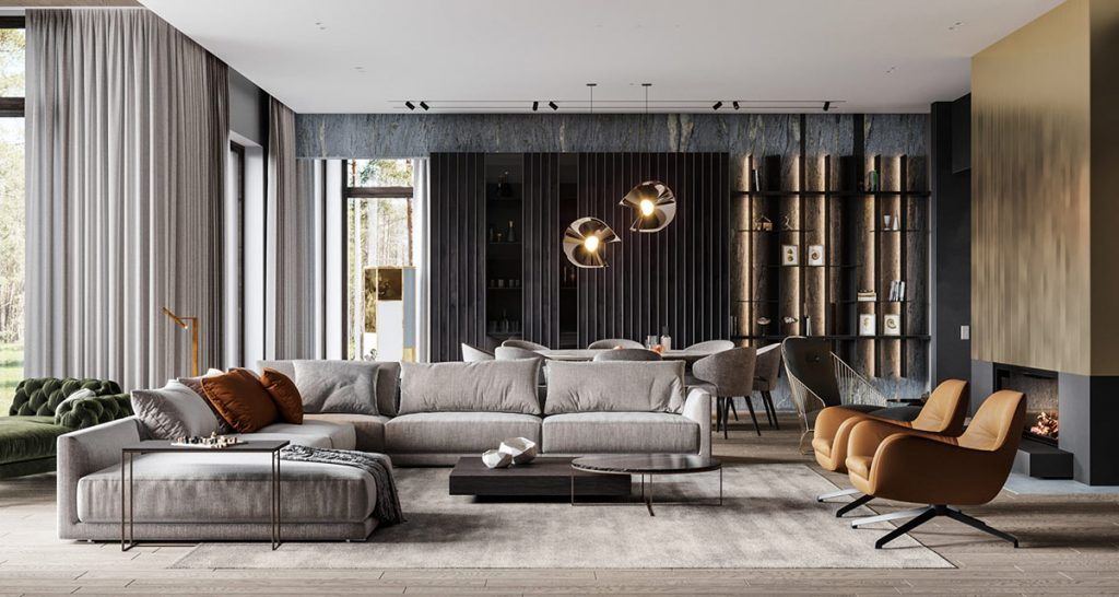 captivating modern living room design ideas | Captivating Modern Glamour In Grey, Gold And Green Home ...
