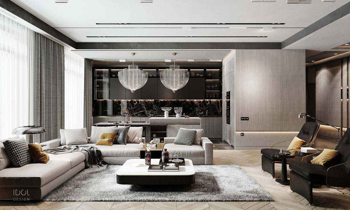 wonderful modern style living room | Luxury Modern Living In Grey And Gold