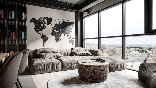 Grey Modern Industrial Apartment Interiors