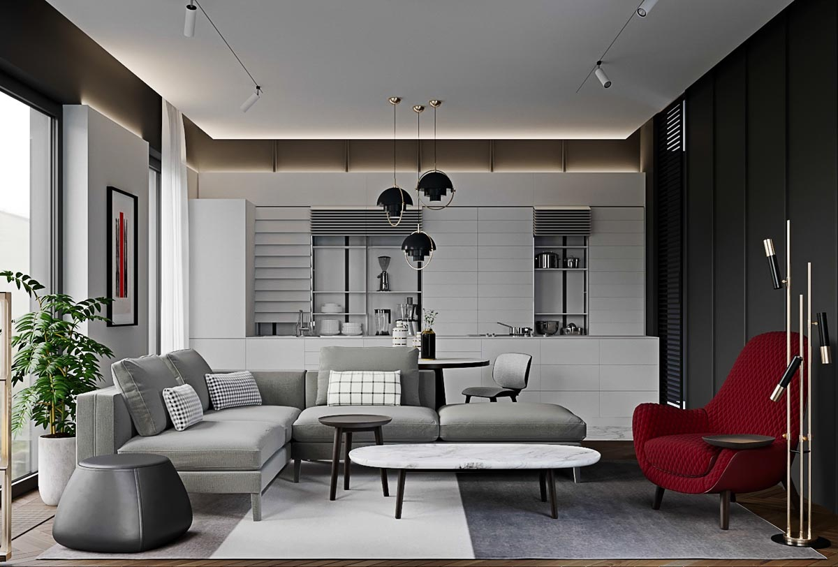 3 Red And Grey Modern Home Interiors In
