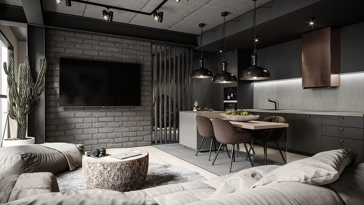 Table Basse Avec Souche D Arbre décoration : intérieurs d'appartements industriels modernes