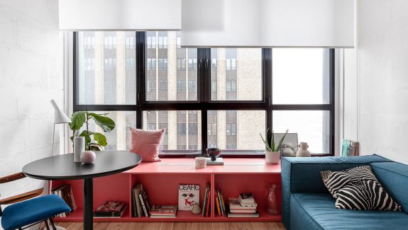 Small Interiors With Red, Pink And Blue Accents