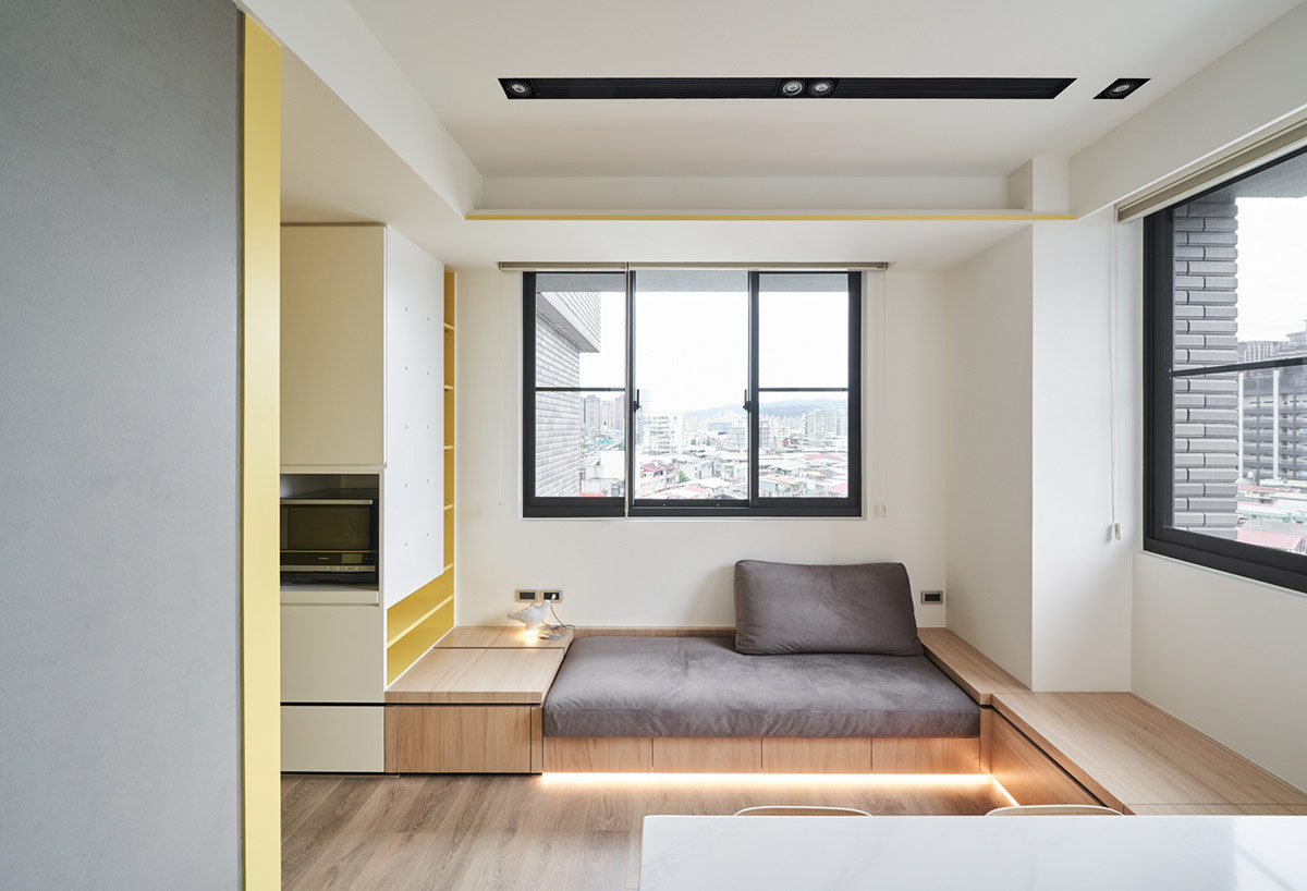Small Interiors Made Airy With White And Yellow Decor And