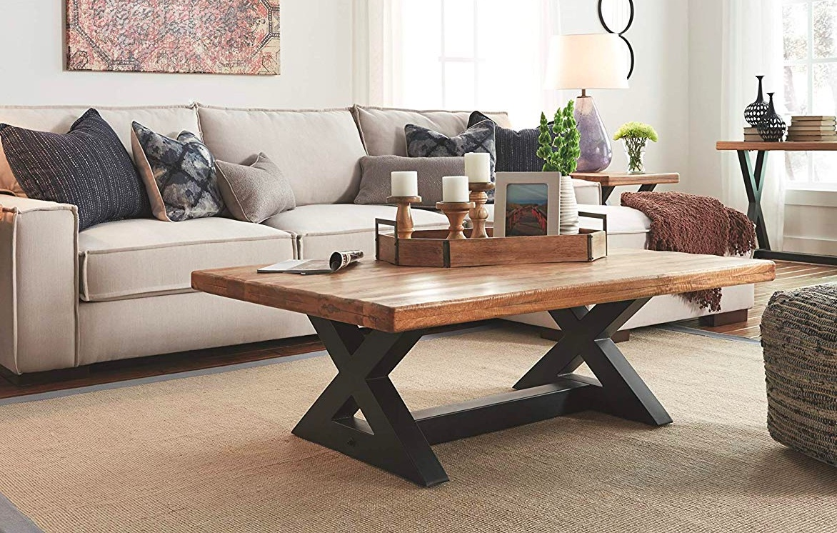 Rustic X Coffee Table Black Legs Thick Wood Top