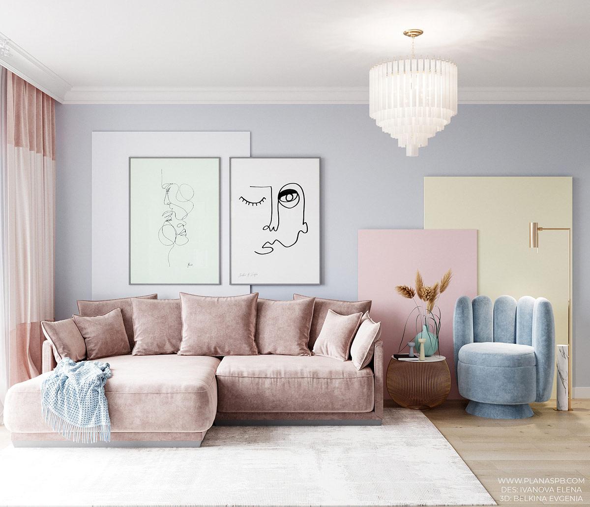 Duo De Couleurs Déco décoration : intérieur de couleur pastel avec une douce