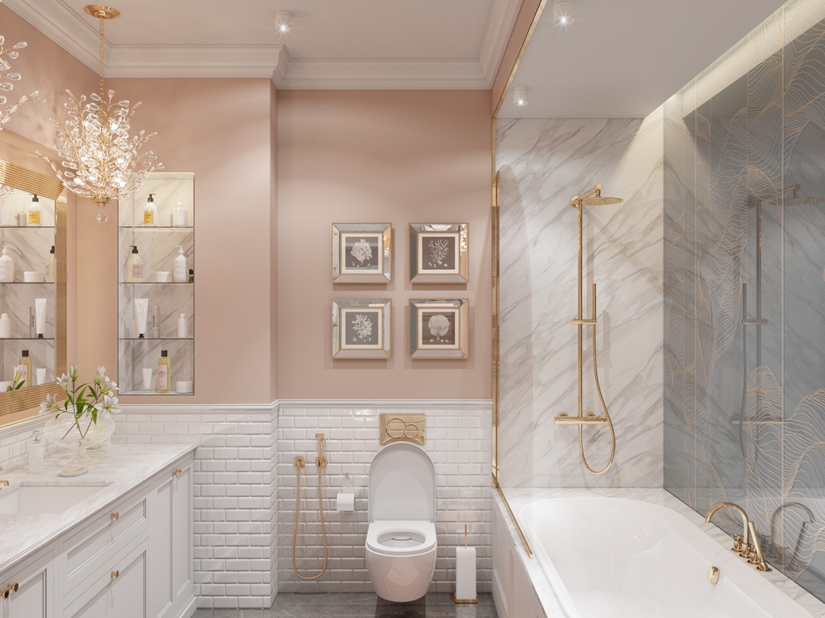 enchanting pink ceiling bathrooms | Small Interiors Under 70 Sqm That Will Have You Tickled ...